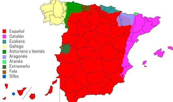 mapa de los idiomas en España